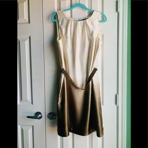 2/$50👗Antonio Melani Cream Brown Shift Dress